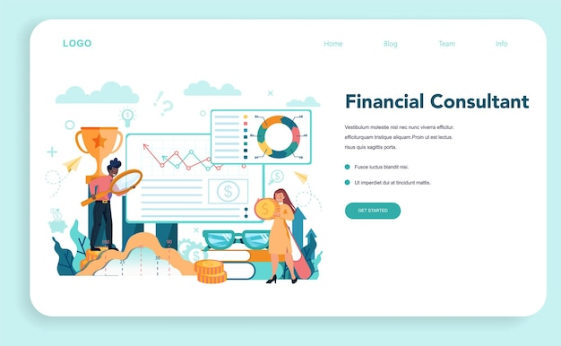 Financial analyst or consultant web template or landing page. business character making financial operation. monetry assets.