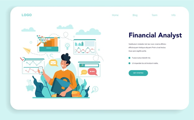 Financial analyst or consultant web template or landing page.