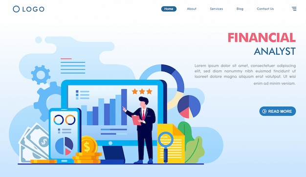 Financial analyst landing page