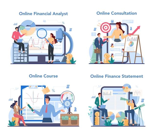 Financial analyst online service or platform set.
