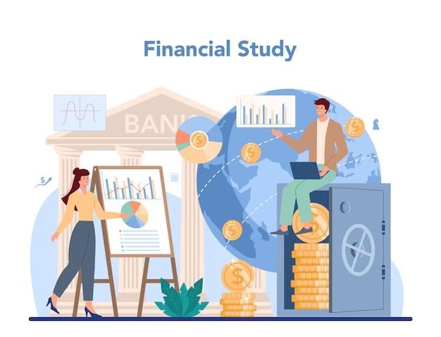 Финансовый аналитик или консультант. деловой персонаж, совершающий финансовую операцию.