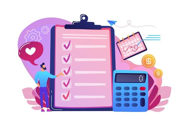 클립 보드, 계산기 및 달력의 체크리스트에서 계획하는 재무 분석가. 예산 계획, 균형 예산, 회사 예산 관리 개념.