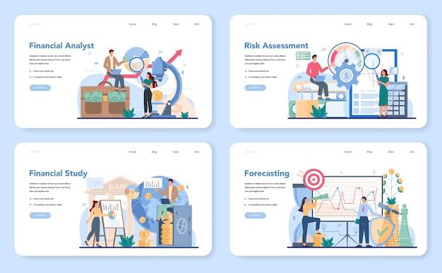 Financial analyst web banner or landing page set.