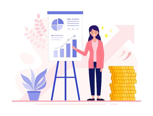 개념 차트 및 다이어그램 투자 성과 보고서를 포함하여 새로운 프로젝트를 제시하는 재무 분석가 젊은 비즈니스 여성.