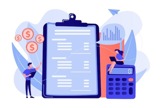 계산기와 노트북으로 손익 계산서를 작성하는 재무 분석가. 손익 계산서, 회사 재무 제표, 대차 대조표 개념 그림