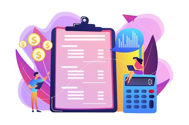 계산기와 노트북으로 손익 계산서를 작성하는 재무 분석가. 손익 계산서, 회사 재무 제표, 대차 대조표 개념.