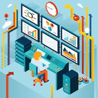 財務分析とビジネス分析の概念。開発と図、チャートとダイナミクス、経済と金融。ベクトルイラスト