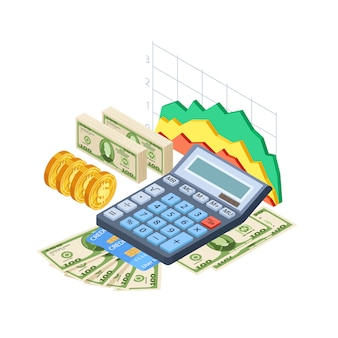 Financial analytics, bookkeeping  concept. cash, credit cards, coins, calculator and graphics isometric