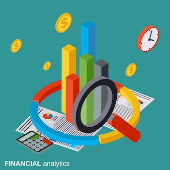 Financial analytics flat isometric vector concept illustration