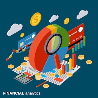 Financial analytics flat isometric vector concept