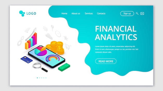 財務分析等尺性ランディングページのコンセプト。スマートフォンの画面、お金、アイコン、流体の抽象的な背景の3 dグラフデータ。モバイルアプリ、ウェブサイトテンプレート、マーケティングのイラスト