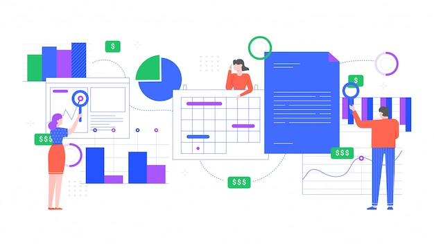 財務分析。人々は財務チャート、収入グラフ分析を分析し、オフィスワーカーは一緒に働きます。チームワークコンセプトフラットイラスト。従業員の協力と研究