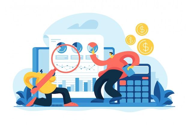 Финансовый и это аудит концепции векторные иллюстрации