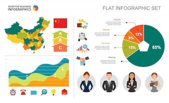 Financial area and pie chart template for presentation