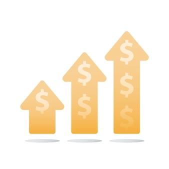 財務昇順チャート、収益の増加、収入の成長、ビジネスの加速、より多くのお金を稼ぐ、投資収益率、資本の乗算、アイコン、フラットなイラスト