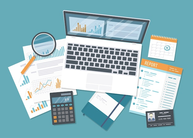 Financial audit, accounting, analytics, data analysis, report, research. documents with charts graphs, report, magnifying glass, calculator. business background.
