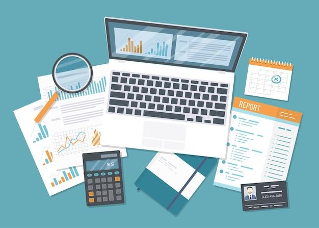 会計監査、会計、分析、データ分析、レポート、調査。チャートグラフ、レポート、虫眼鏡、電卓を備えたドキュメント。ビジネスの背景。