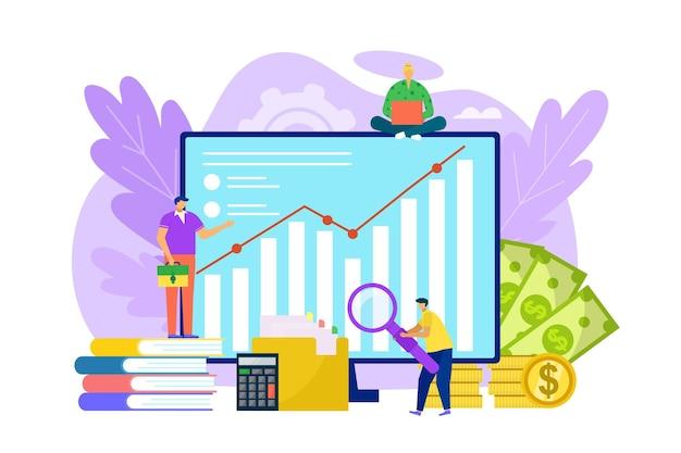 Financial audit at computer illustration