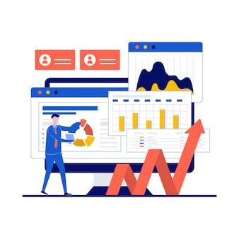 Концепция финансового аудита с характером. верстка домашней страницы финансового консалтинга, бухгалтерии и бухгалтерии.