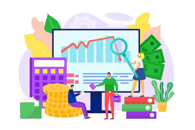 Financial audit graph business management chart for marketing illustration