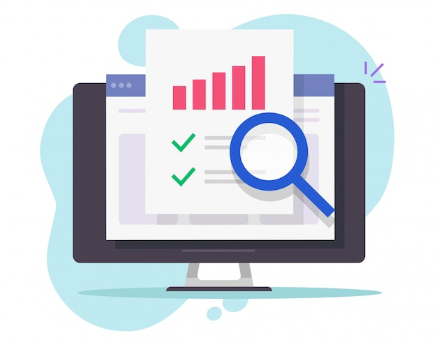 Financial audit research online on desktop computer or pc web analysis or analytics digital report  flat