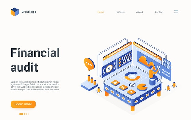 Financial audit technology isometric landing page finance planning of account budget