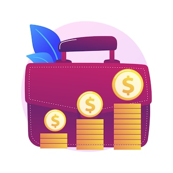Financial benefit. businessman cartoon character with big briefcase earning money, getting revenue. profit, income, earnings. capital gain process