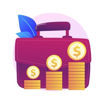 재정적 이익. 돈을 버는 큰 서류 가방, 수익을 받고 사업가 만화 캐릭터. 이익, 소득, 수입. 자본 이득 프로세스