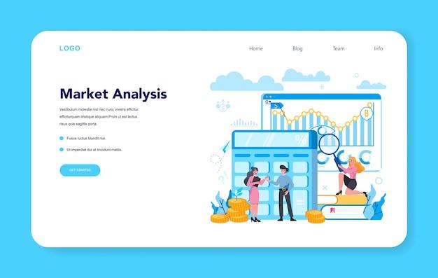 金融ブローカーと市場分析のwebバナーまたはランディングページ