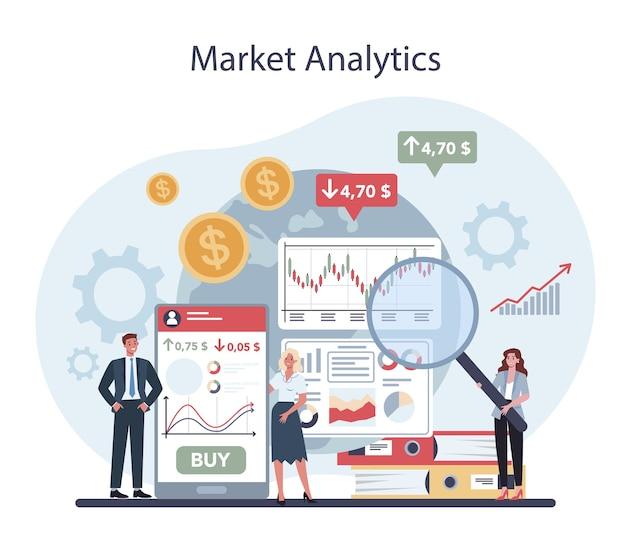 금융 중개인. 시장 분석, 투자 및 절약 개념.