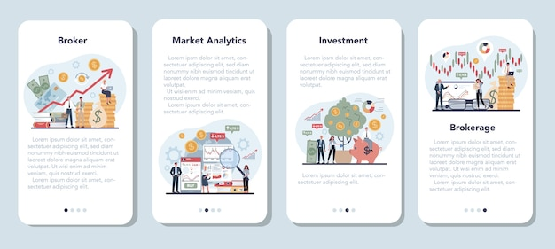 Financial broker mobile application banner set