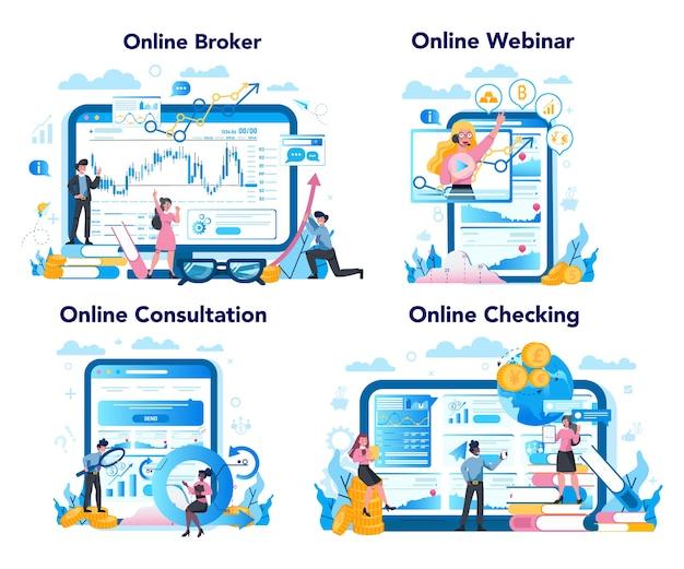 金融ブローカーのオンラインサービスまたはプラットフォームセット。収入、投資