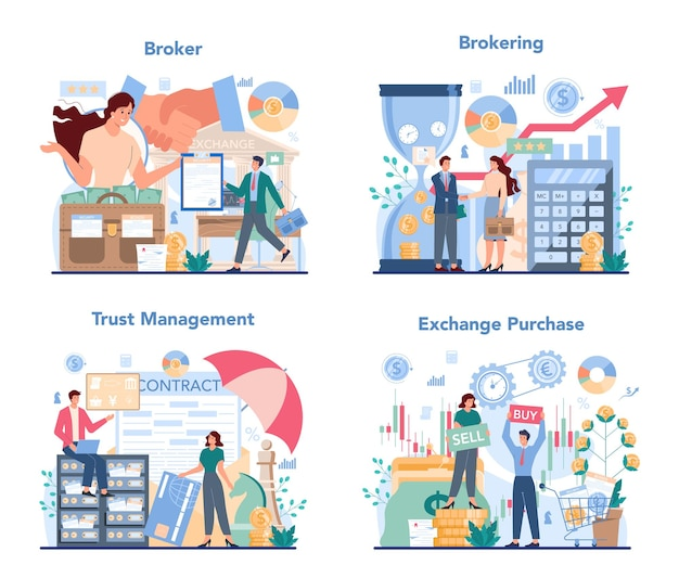 Financial broker set illustration