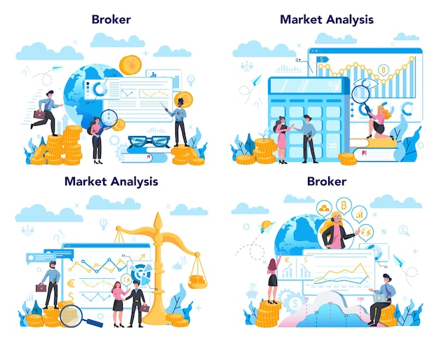 金融ブローカーセット。収入、投資、貯蓄の概念。金融業務を行うビジネスキャラクター。