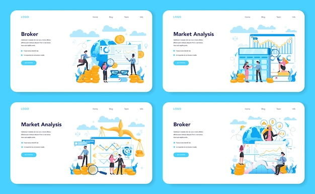 Financial broker web banner or landing page set. income, investment and saving concept. business character making financial operation. isolated vector illustration