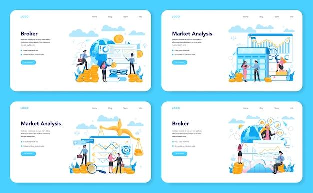 金融ブローカーのwebバナーまたはランディングページセット。収入、投資、貯蓄の概念。財務運営を行うビジネスキャラクター。孤立したベクトル図