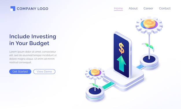 Financial budget planning isometric landing page