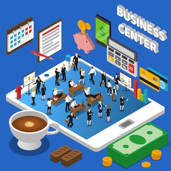 Financial business center isometric composition poster