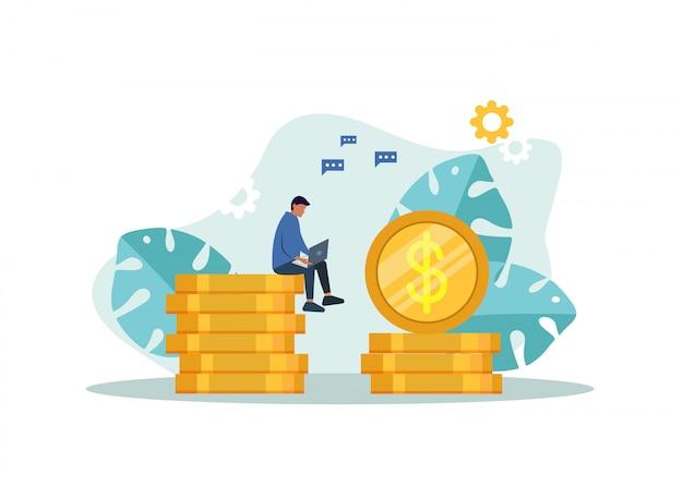 金融ビジネスのコンセプトです。利益成長戦略。株価グラフコインマネーはビジネスの利益を表します