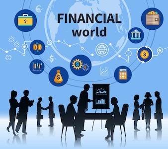 Financial business world successful management concept