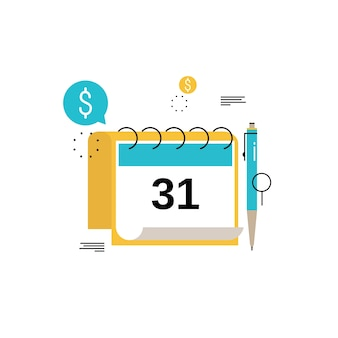 Financial calendar, financial planning, monthly budget planning flat vector illustration design. financial planning design for mobile and web graphics