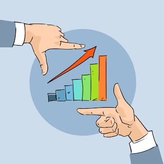 Financial chart bar arrow up business hand sketch graph