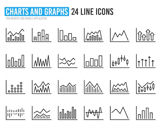 Financial chart line icons. candle stick graph.