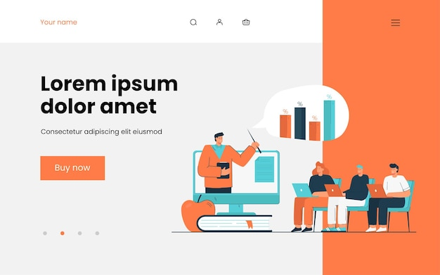 Financial coach explaining people how to invest money. development, investing, education flat  illustration. business process and finance concept , website design or landing web page