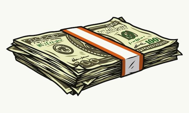分離されたビンテージスタイルのドル紙幣とお金のスタックの金融カラフル