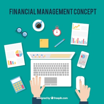 Financial concept with office desk Free Vector