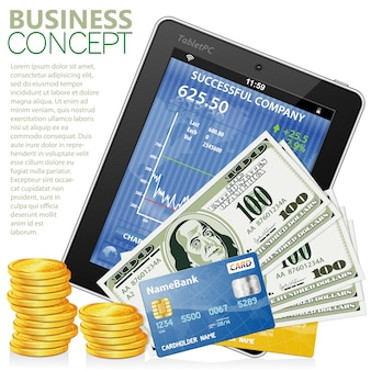 Financial concept with tablet pc, dollars, credit cards and coins