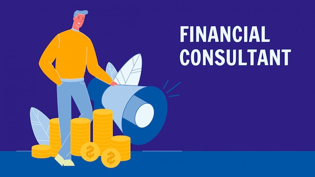 Financial consultant flat vector banner with text