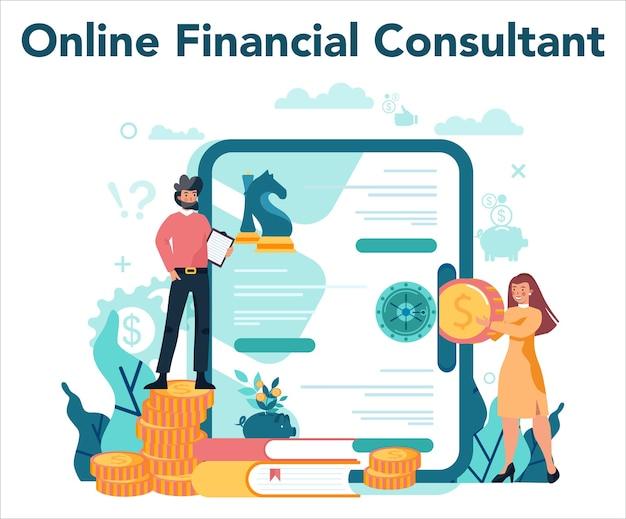 Онлайн-сервис или платформа финансового консультанта. деловой персонаж, совершающий финансовую операцию.