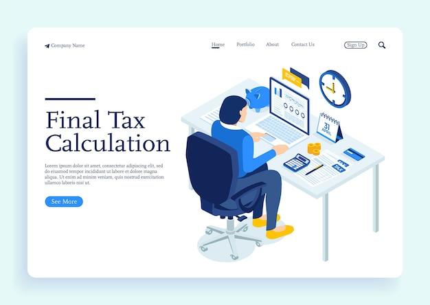 세금 계산 아이소메트릭 개념에 대한 문서가 있는 사무실 책상에 앉아 있는 재무 컨설턴트